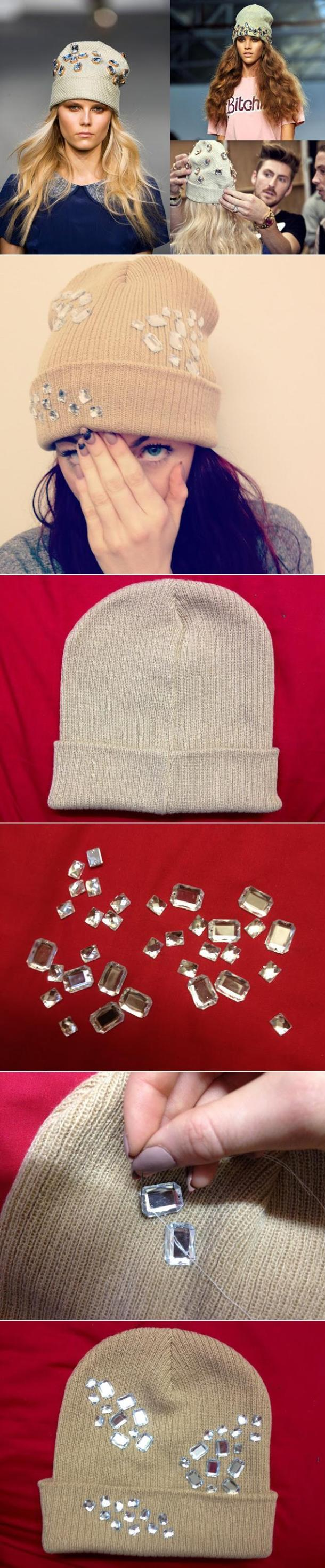 diy jeweled beanies