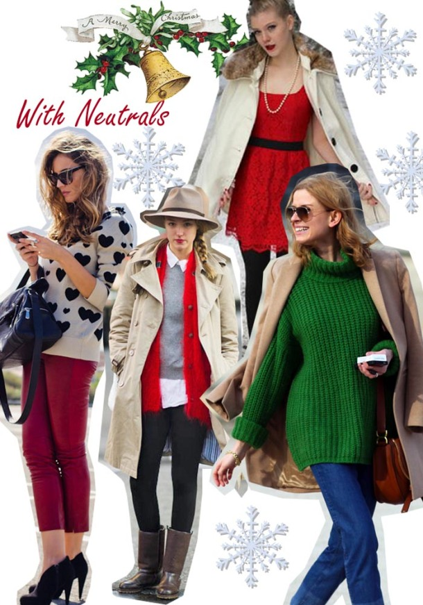 christmas outfit ideas red and green with neutrals