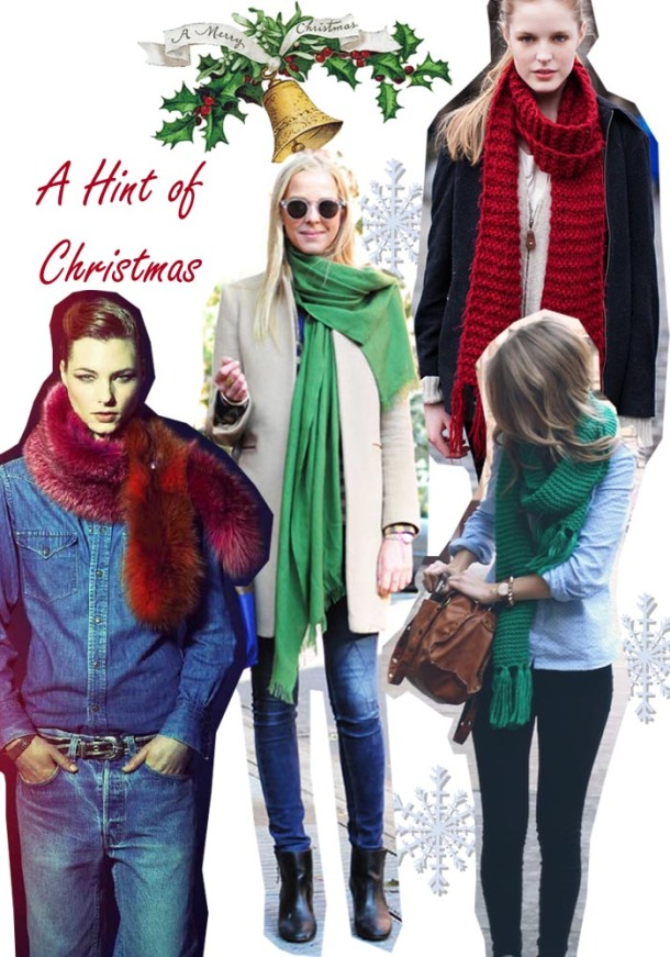 christmas outfit ideas subtle green and red scarf