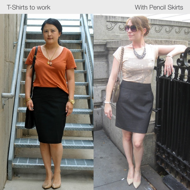 tshirts-to-work-with-pencil-skirts