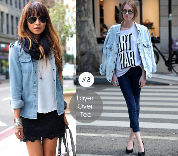 14-ways-to-wear-denim-chambray-shirt-street-style-layer-over-teet