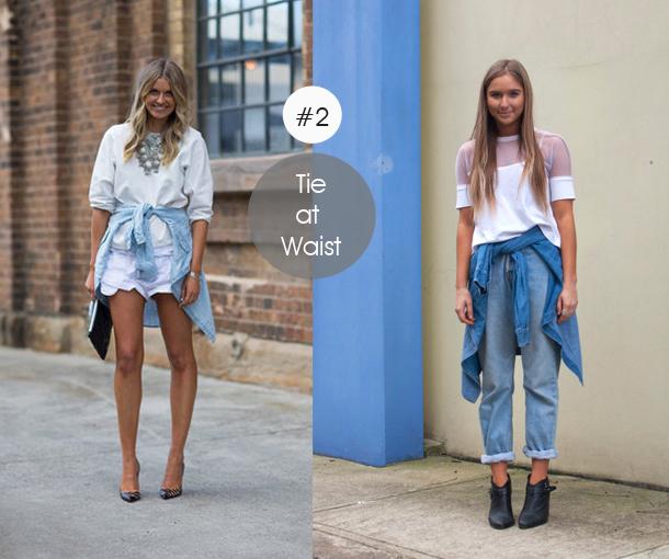 14-ways-to-wear-denim-chambray-shirt-street-style-tie-at-waist