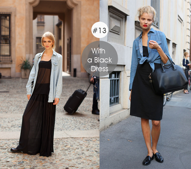 14-ways-to-wear-denim-chambray-shirt-street-style-with-black-dresses-in-the-day-LBD