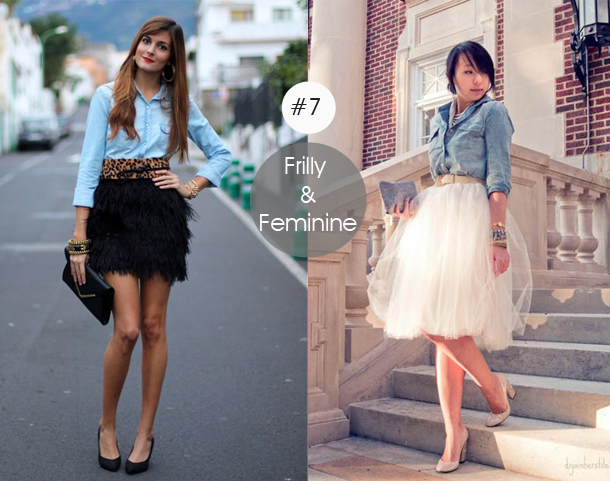 14-ways-to-wear-denim-chambray-shirt-street-style-with-frilly-and-feminine-skirts