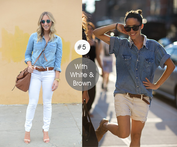 14-ways-to-wear-denim-chambray-shirt-street-style-with-white-and-brown-colort
